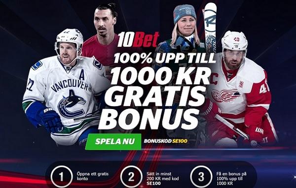 10bet bonuskod med unik 1000 kronor bonus
