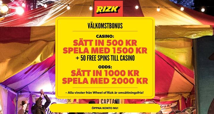 Rizk bonus på casino och odds